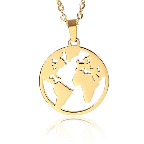 d3413cbf636 Anlive World Map Necklace Mother Earth Necklace Long Distance Travel Gift ( Gold)