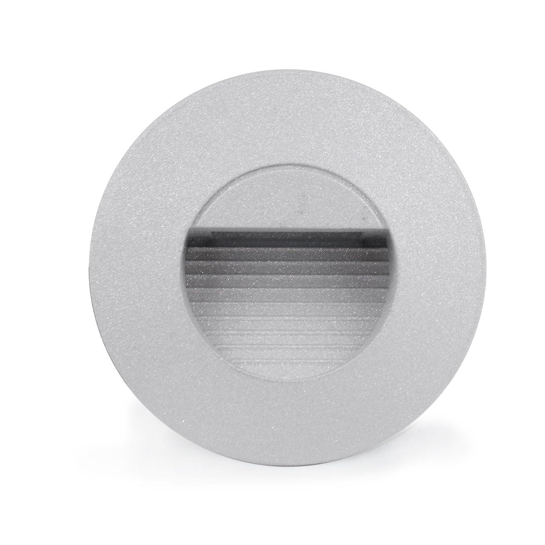 MD-DEAL 4er Set LED Aluminium Wandeinbauleuchte Treppenlicht rund UNTERPUTZDOSE Innen und Aussenbeleuchtung 230V 1,0Watt IP65 warmweiß