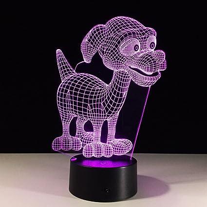 Amazon Com Aetd Cute Dog 7 Color Lamp 3d Visual Led Night Lights