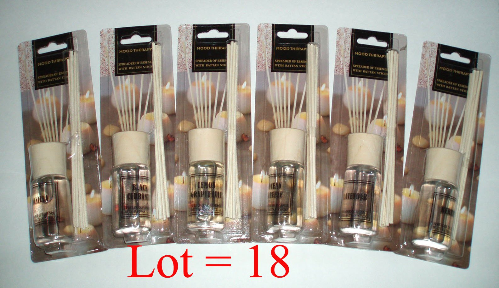 Mood Therapy 18 Sets Fragrance Oil Reed Diffuser Sets Wholesale Lot (18 x 1.2 oz) (Case of 18) by Mood Therapy (Image #1)