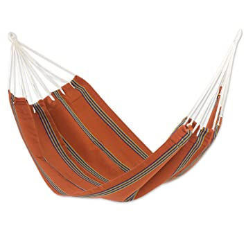 NOVICA Orange Fabric Hand Woven Hammock, Sunset Vistau0027 (Single)