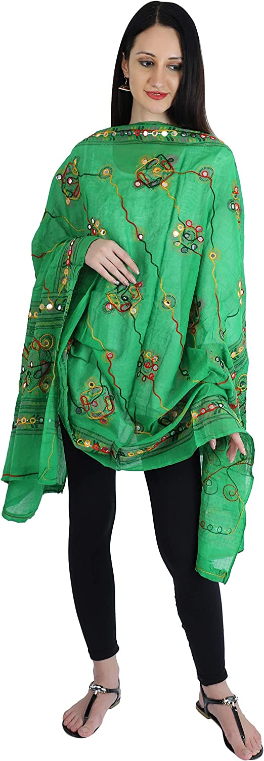 YATHABI Cotton Long Womens Kutch Work Turquoise Dupatta Embroidery Floral Handicraft Shawl Wrap Stole Scarf