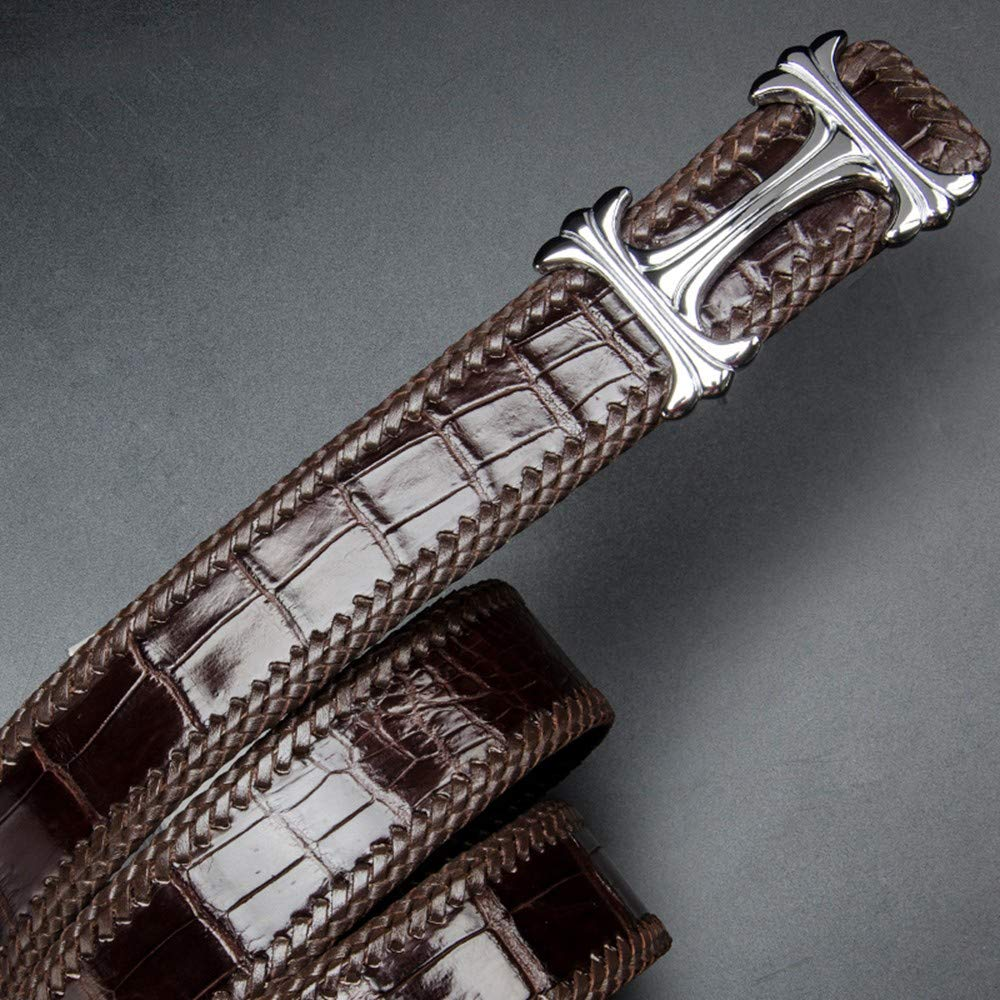 HYLIUP Leather Mens Belt Fashion Belt Mens Casual High-Grade Leather Braided Smooth Buckle Youth Pants Belt