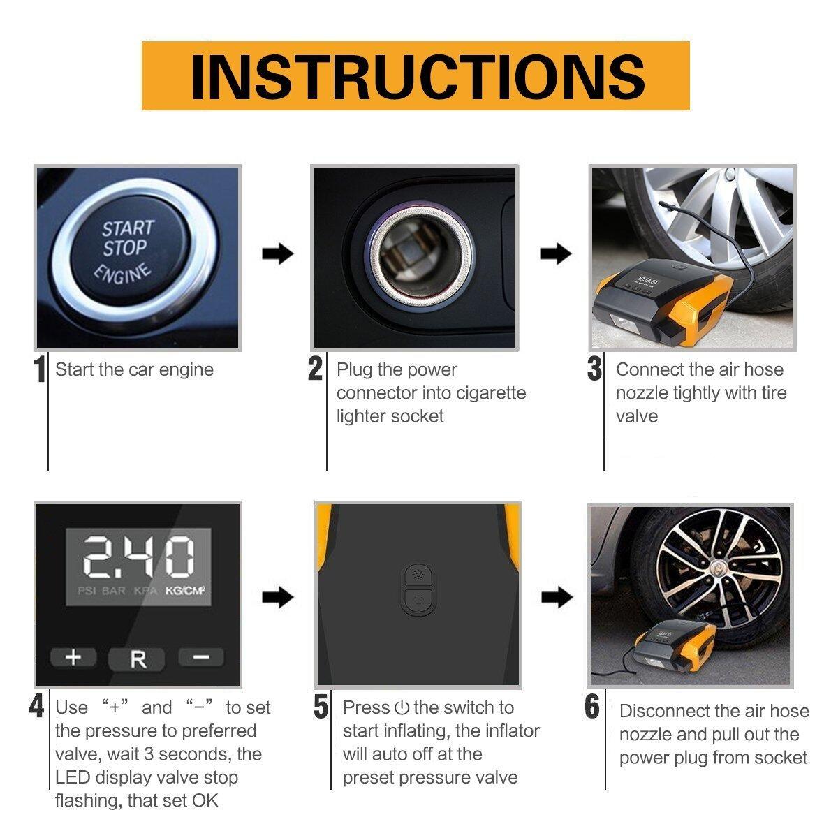 SEEYC - Inflador de neumáticos digital 12 V 120 W 150 PSI, compresor de aire con mayor flujo de aire 40 l/min, pantalla digital actualizada, luz LED, ...