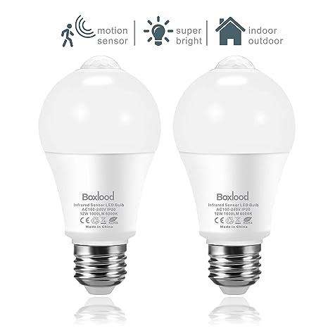 2x bombillas con sensor de movimiento, 6000K Blanco Frío, luces de seguridad LED de
