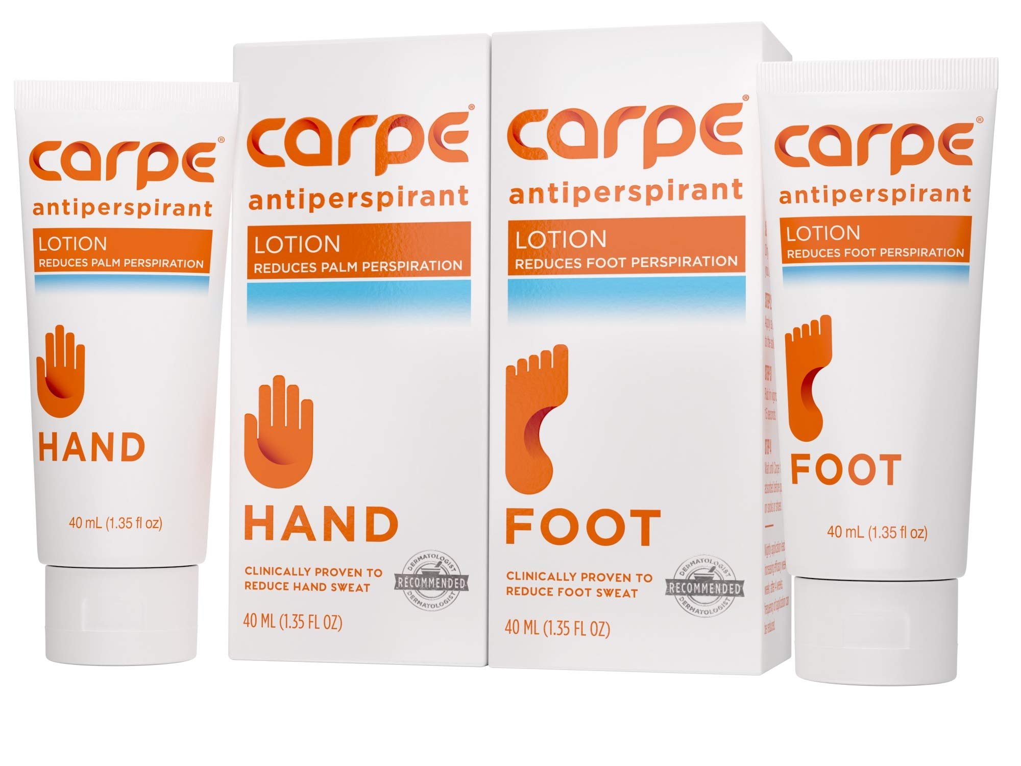 Carpe Antiperspirant Hand and Foot Lotion Package Deal (1 Hand and 1 Foot Tube - Save 17%), Stop Sweaty Hands and Sweaty, Smelly Feet, Dermatologist-Recommended, Most-Popular by Carpe