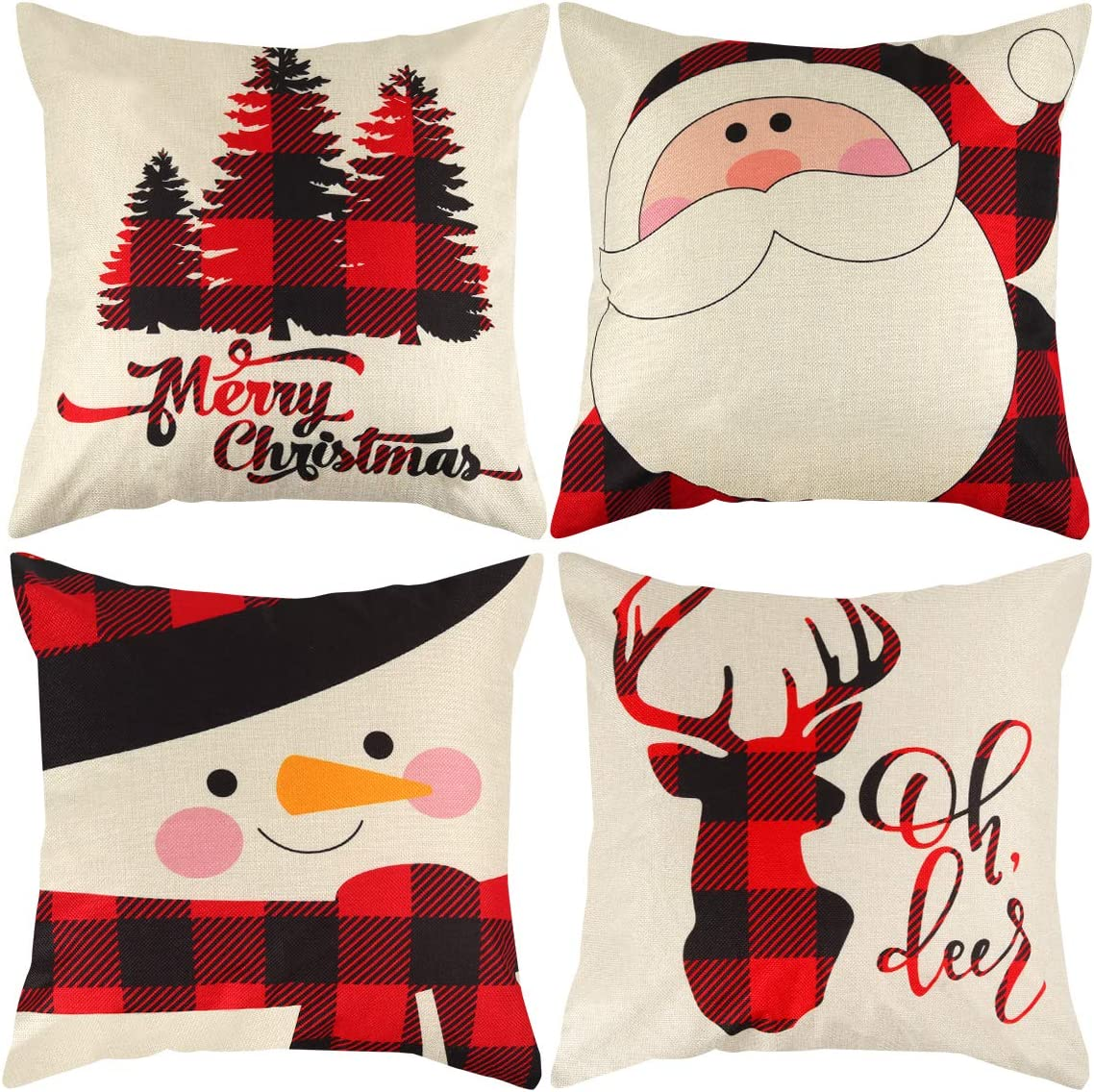 Mocoosy Christmas Pillow Covers 18 x 18 Inch, Christmas Pillow Cases Set of 4, Plaid Linen Decorative Throw Pillow Covers Santa Snowman Reindeer Square Pillowcase for Xmas Home Office Sofa Decor