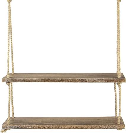 Estante colgante de madera | Estantería de cuerda montada en la pared | Estante Boho Chic | Repisa rústica de cuerda de yute | Accesorios incluidos | ...