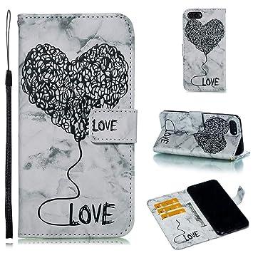 AXRXMA Mármol Texturizado Pintado Amor patrón Flip PU Billetera de Cuero Cubierta de la Caja para Huawei Honor Vista 10 (Color : Negro): Amazon.es: ...