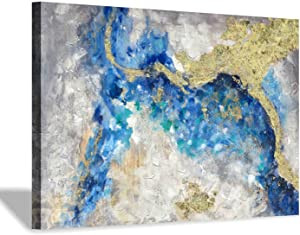 "Teal Abstract Painting Wall Art: Hand Painted with Heavy Textured & Gold Foils Embellishment Picture Artwork for Bedroom Office (24"" x36'' x 1 Panel)"