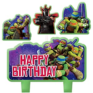 Amscan Teenage Mutant Ninja Turtles Candle Set (4pc),Green