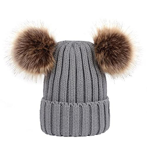 Gorra de invierno de punto OULII Beanie gorra con doble Pom Pom para mujeres niñas (Gris)