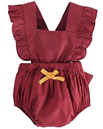 b06ab0243714 DeerBird Newborn Infant Baby Girl Ruffle Sleeve Bowknot Rompers Bodysuits  Short Jumpsuits Size 6M Red