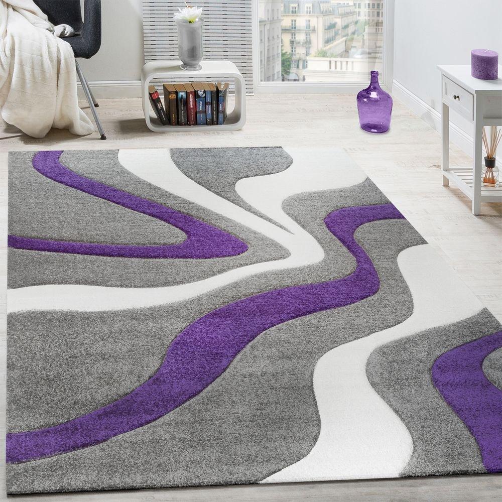 Paco Home Designer Teppich Modern Abstrakt Wellen Optik Konturenschnitt In Lila, Grösse 200x290 cm