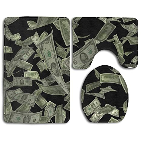American Hundred Money Symbol Dollar 3 Piece Bathroom Rug Set Bath Contour Mat Toilet Lid Cover U Shaped Nonslip Home Washroom Decor Shower Accessories
