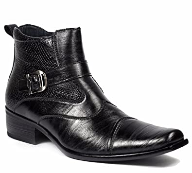 Amazon.com | Delli Aldo Men's Buckle Strap Ankle High Dress Boots ...