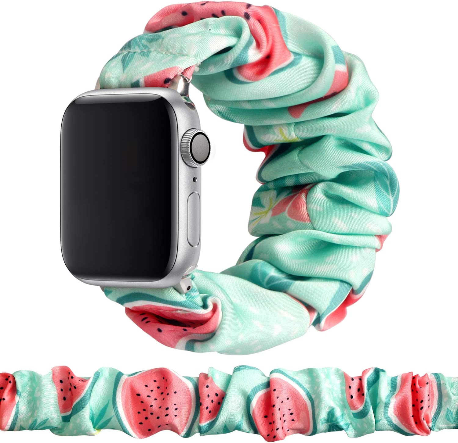 MITERV Compatible with Apple Watch Band 38mm 40mm Soft Floral Fabric Elastic Scrunchies iWatch Bands for Apple Watch Series 6,SE,5,4,3,2,1 38mm/40mm Watermelon S