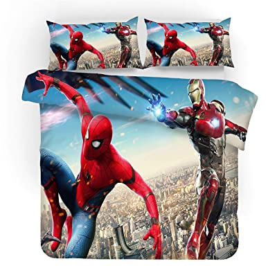 AXIONG 3D Spider Man Duvet Cover Set Marvel Superhero Movie Bedding for Teen and Kids Bed 3 Pcs 1 Duvet Cover 2 Pillowcases King Queen Full Twin Size: Home & Kitchen