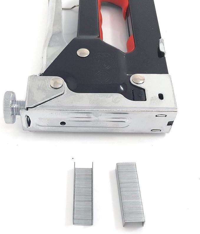 M/öbel und zum Polstern Stoff Tackerpistole Typ 53 aus ABS-Kunststoff mit Nagelabzieher und 800 8mm Klammern f/ür Holz HAUSHOF Handtacker Set