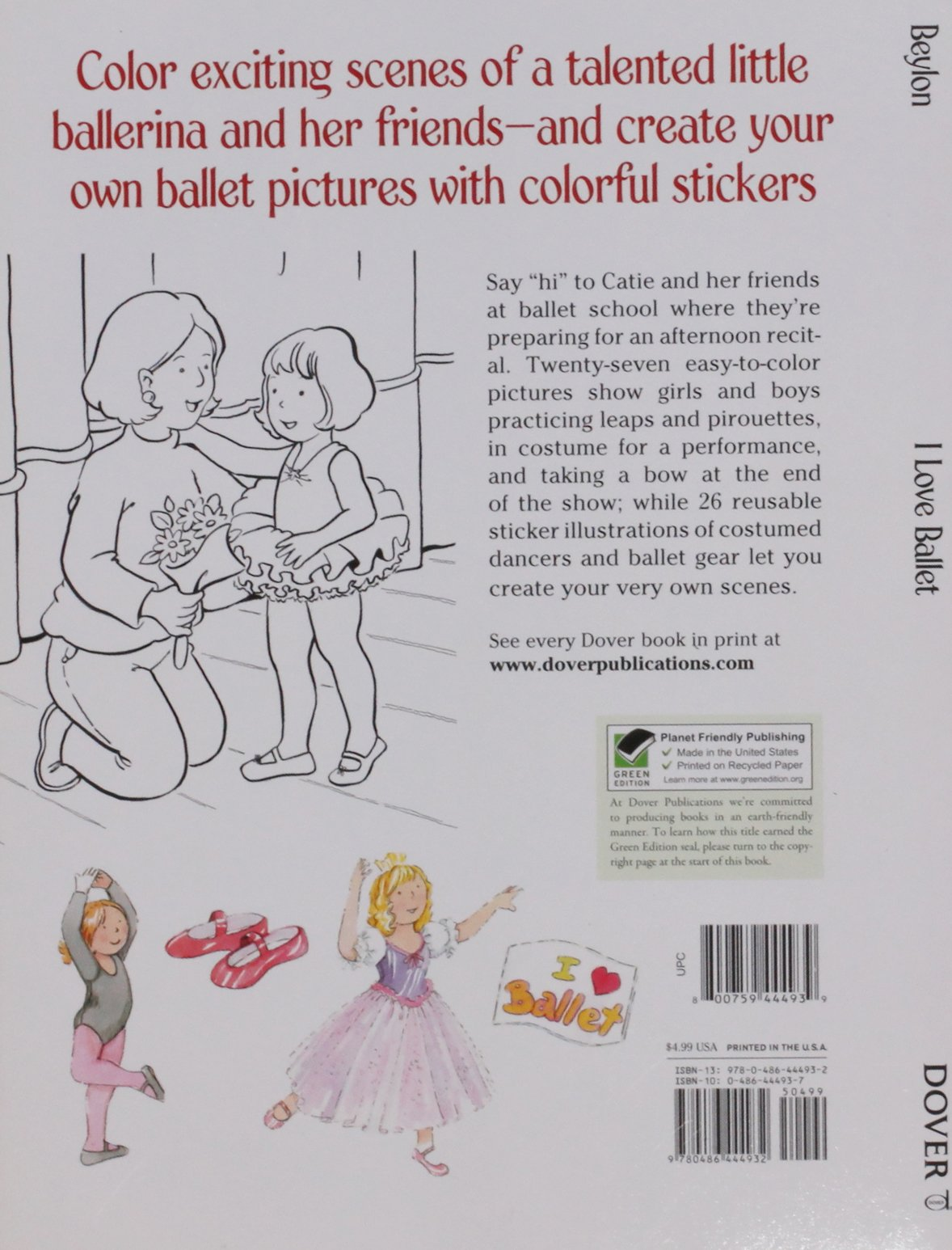 i love ballet dover coloring books cathy beylon coloring books