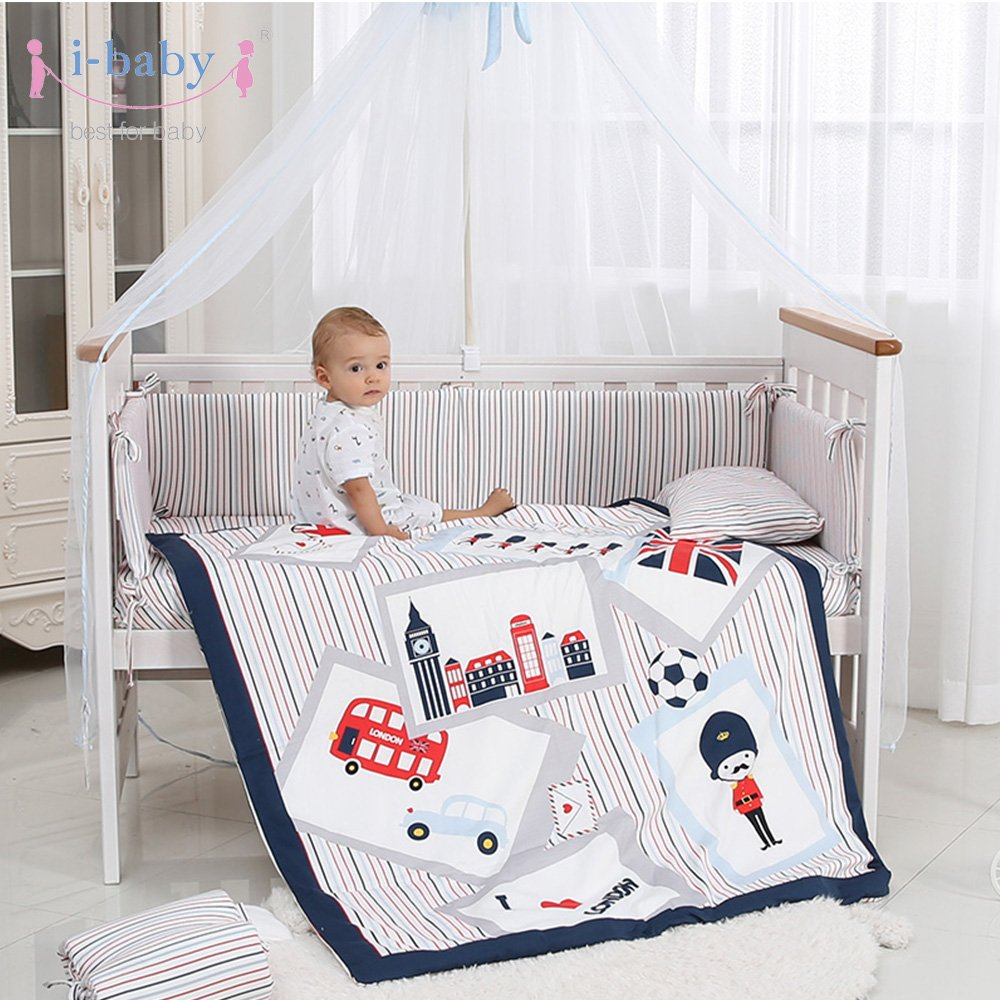 Auto World i-baby 9 Piece Nursery Crib Bedding Set for Newborn Baby Girls Infant Crib Sheet Duvet Pillow Bumper Cot and 100/% Cotton Printed Cover