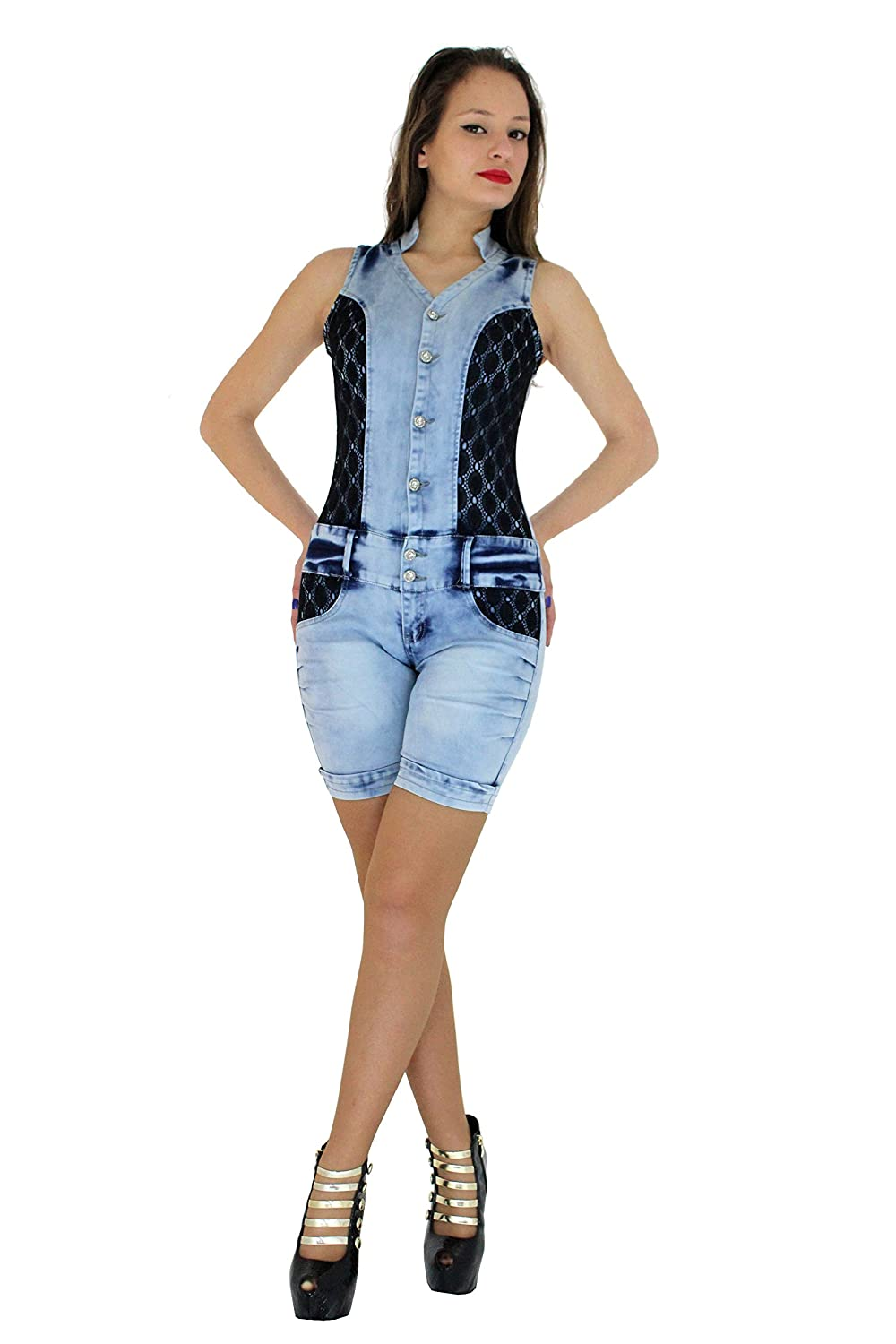 281d61030a1a HADABELLA Push Up (Pump Up) Figure Molding Denim Overall One Piece Short  Jumpsuit.: Amazon.co.uk: Clothing