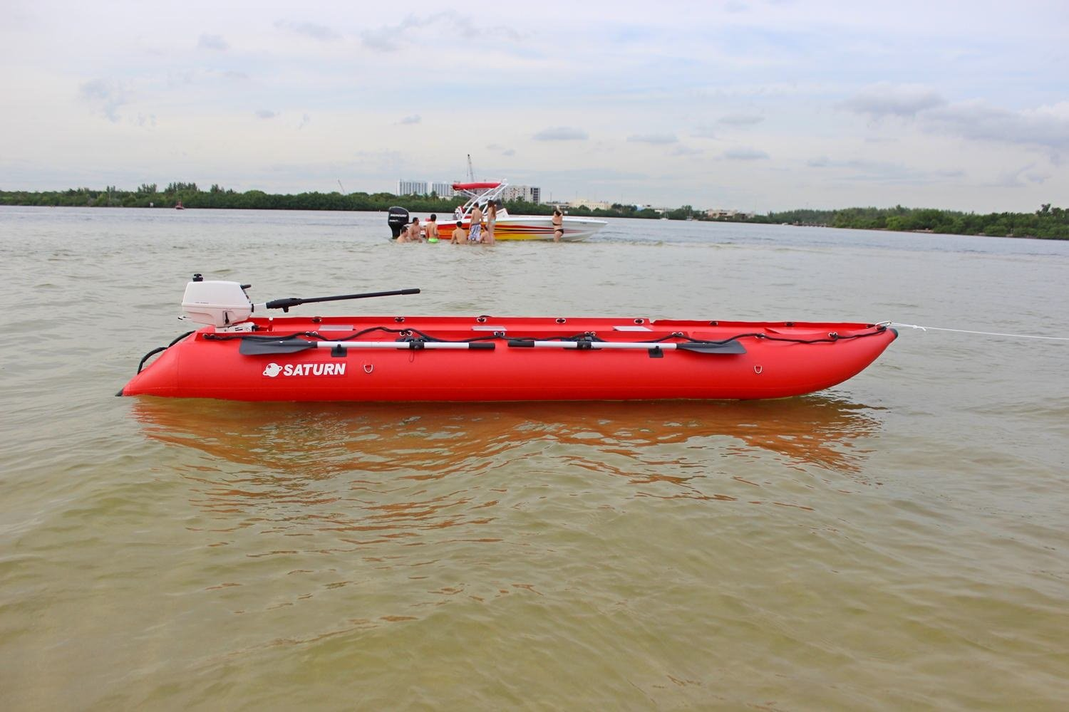 Saturn 15 ft KaBoat SK470 Inflatable Boat and Inflatable Kayak Crossover – Red. Dinghy Tender Raft Inflatable Motor Speed Boat. Narrow fast boat.