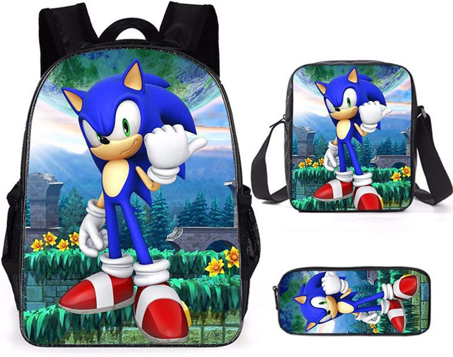 School Supplies Kit for Children Kids Boys and Girls Casual Shoulder Bag and Animal Forest Crossing Pencil Case Color-1 The Hedgehog Retro Style Backpack Rucksack