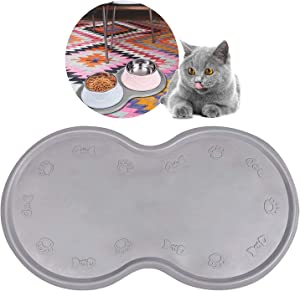 Pet Feeding Mat Cat & Dog Mats for Food & Water - Flexible and Easy to Clean Feeding Mat - Non-Slip Waterproof Feeding Mat for Dog Food & Water Bowls Nontoxic Rubber Gray…