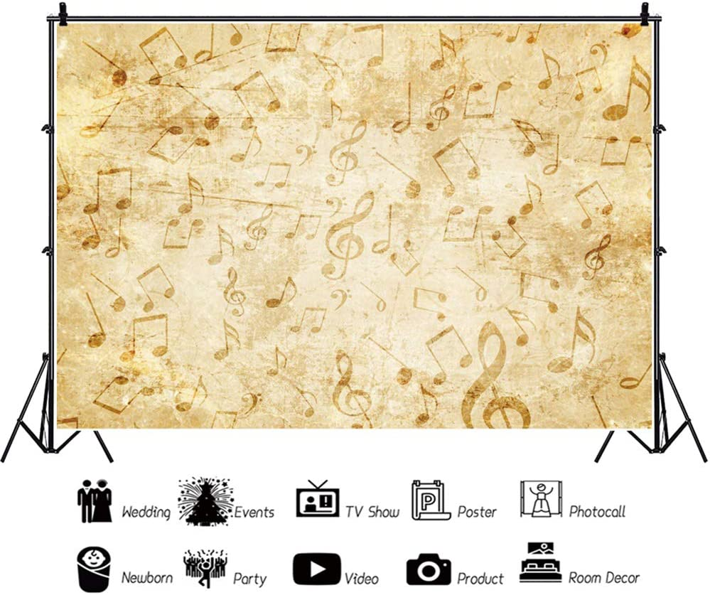 Yeele 10x8ft Music Note Wall Backdrop Kids Birthday Party Photography Background Kids Adult Artistic Portrait School Class Events Photo Booth Photo Studio Props Wallpaper