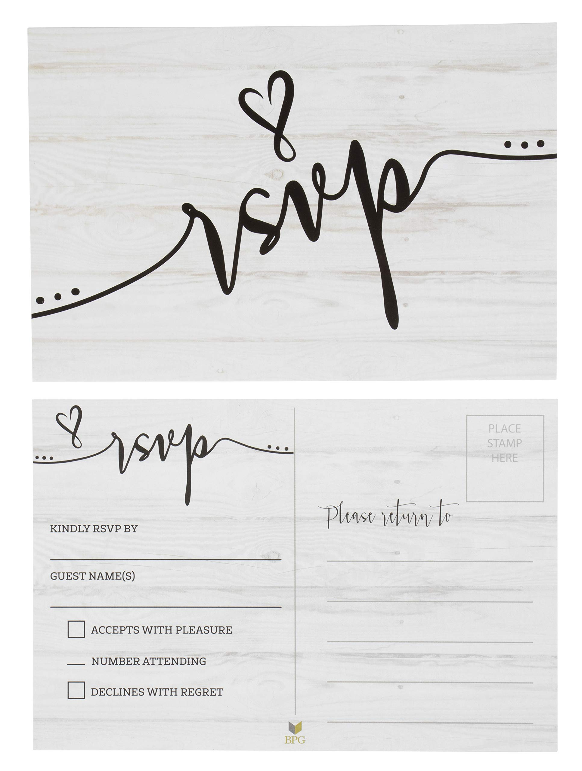 RSVP Cards - 60-Pack RVSP Postcards, Response Return Card for Wedding, Rehearsal Dinner, Baby Shower, Bridal Shower, Birthday Party Invitation, No Envelopes Needed, Rustic Wedding Themed, 4 x 6 Inches