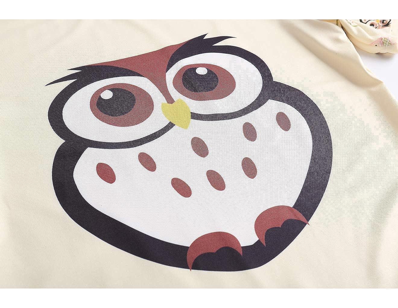 VENTELAN Girls Sleepwear Owl 2 Piece PJS Clothes Summer Kids Shorts Pajamas Set