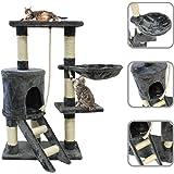Arbre à chat gris avec griffoir de 90cm en fourrure synthétique avec accessoires (Hamac, corde et maison)