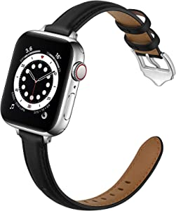 OUHENG Compatible with Apple Watch Bands 40mm 38mm 44mm 42mm, Women Slim Thin Genuine Leather Replacement Strap for iWatch SE Series 6 5 4 3 2 1 (Black/Silver, 40mm 38mm)