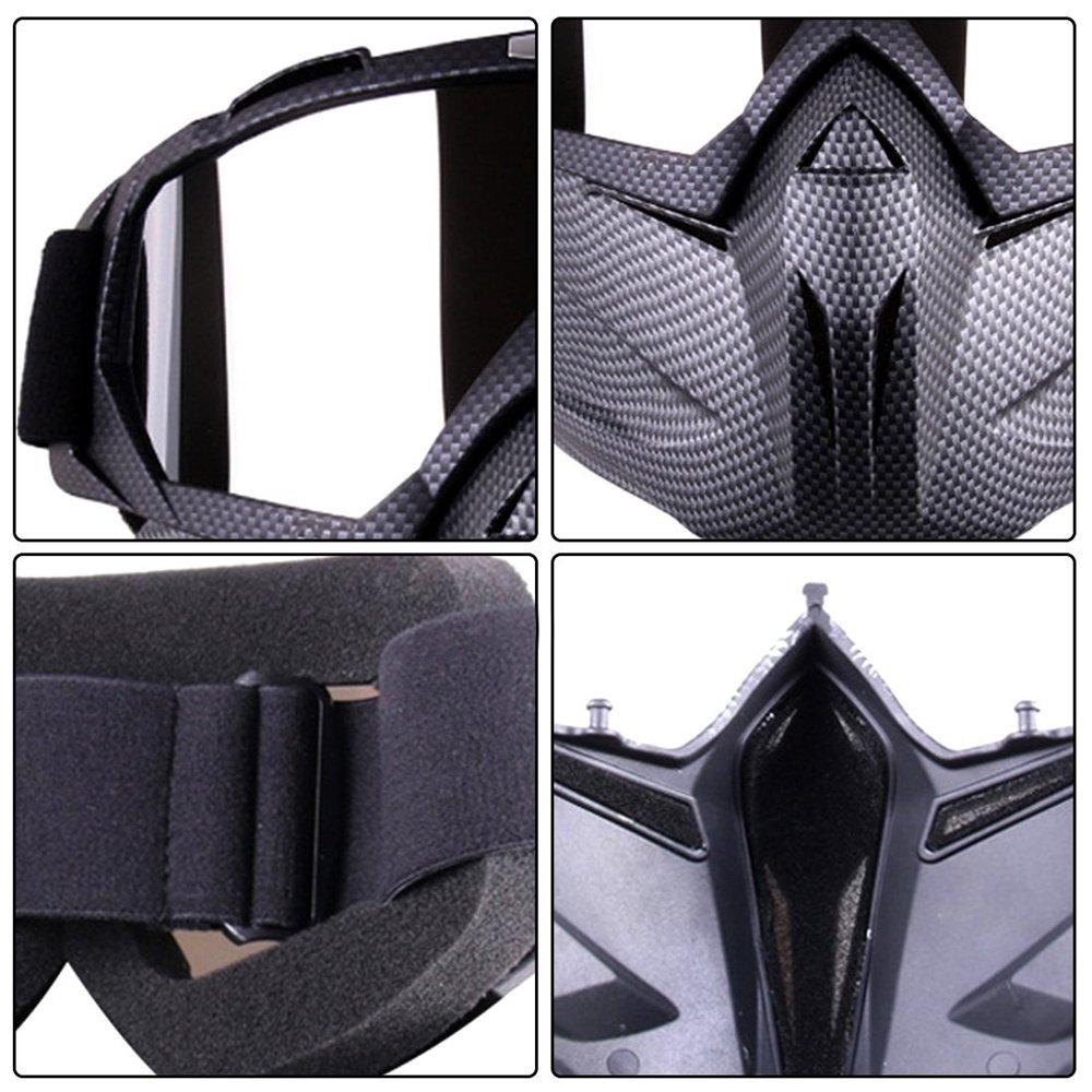 HCMAX Lunettes de Moto Masque Facial D/étachable Casque Anti-bu/ée Coupe-Vent Verres de V/élo pour Le Dessert Hors Route /Équitation Courses Convient aux Hommes Femmes
