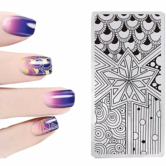Amazon.com: Quartly Nail Templates Stickers DIY Stamping Drawing 3D ...