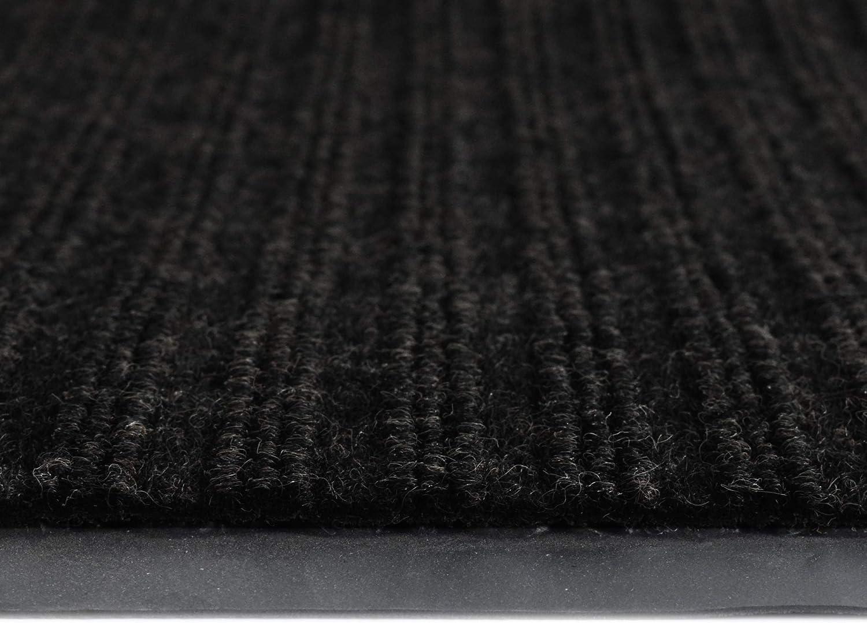 iCustomRug Heavy Duty Interior//Exterior Water Proof Utility Ribbed Vinyl Back Runner Non-Slip Mats,Area Rug 70 Custom Sizes for Doorway Hallway Commercial Space 3 X 6 in Black Balcony