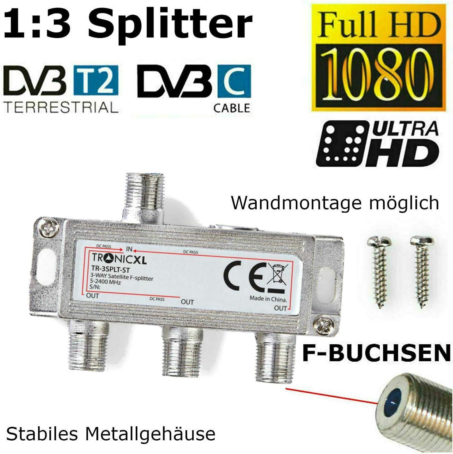 TronicXL Splitter a 3 ingressi per TV Via Cavo DVB-C BK DVB-T2 zb per Unitymedia Germania Vodafone Splitter Unicable HD 3D 4K Digital SAT