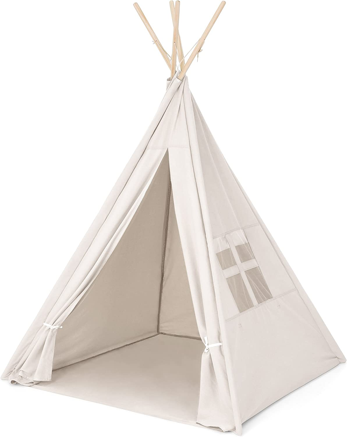Amazon Com Best Choice Products 6ft Kids Cotton Canvas Play Tent Playhouse W Carrying Bag White Toys Games