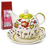 Tea For One - Set da tè per una persona con teiera, tazza e piattino, in confezione regalo, 17 x 13 cm, motivo a fiori e cuori, colore: verde