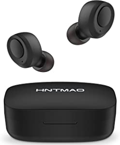 HNTMAO S15 IPX8 Waterproof Bluetooth 5.0 Wireless Earbuds, 30H Playtime TWS Stereo Bluetooth Wireless Headphones for iPhone Android with Charging Case, in-Ear Earphones Headset with mic for Sport