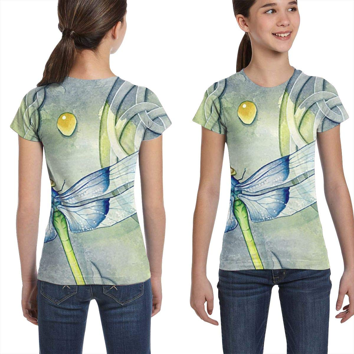 L6Nv4o@A Girls Short Sleeve Cartoon Dragonfly T-Shirts Casual Blouse Clothes XS-XL