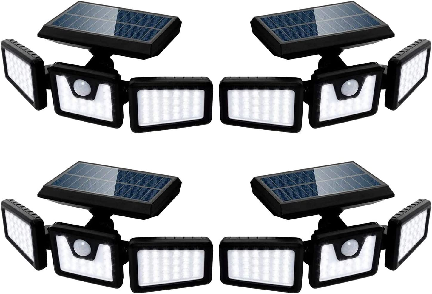 Solar Lights Outdoor with Motion Sensor, 3 Heads Security Lights Solar Powered, 70 LED Flood Light Motion Detected Spotlight for Garage Yard Entryways Patio, IP65 Waterproof 4 Pack