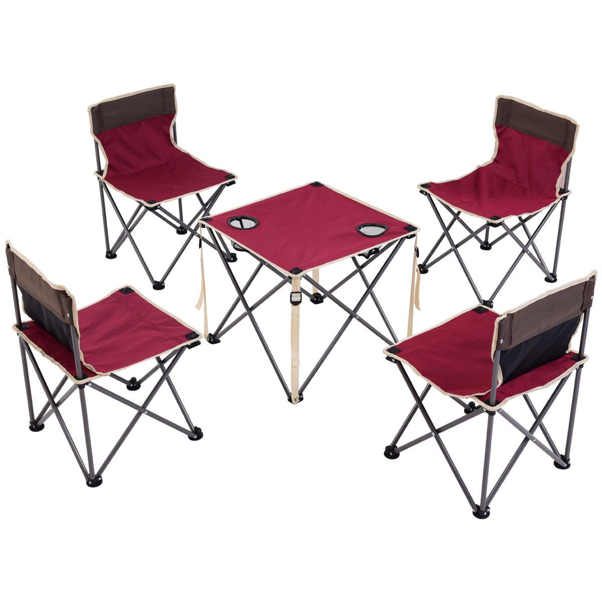 Costzon Kids Portable Folding Table And 4 Chairs Set, Steel Lightweight Outdoor Indoor Compact Set for BBQ, Camping, Fishing, Travel, Hiking, Garden, Beach, 600D Oxford Cloth with Carry (Burgundy)