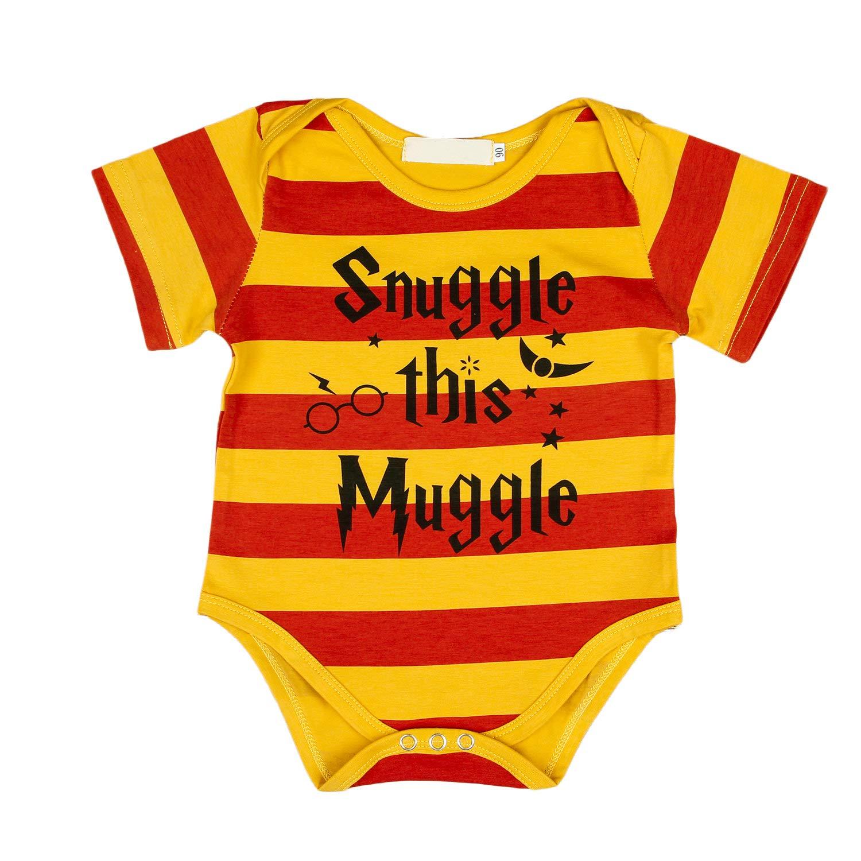 Anywow Unisex Kleinkind M/ädchen Jungen Muggle Baby Kleidung Kind Baby rot gelbe Streifen Brief gedruckt Kurzarm Strampler Body Einteiler