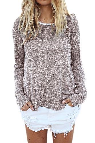 Women 's Elegant Long Sleeve Scoop Cuello Dobladillo Elástico Ancho Llano Ringer T - Shirt