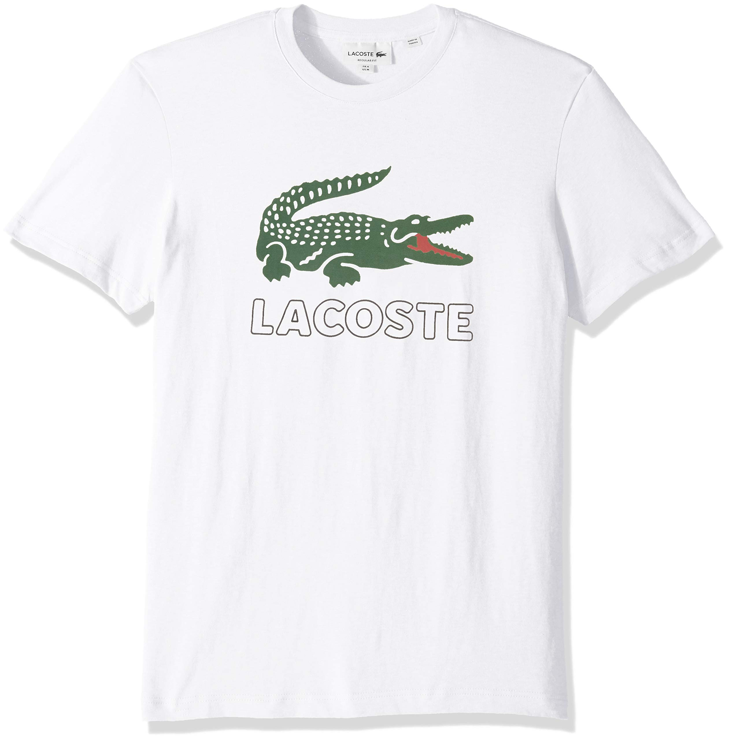 Lacoste Men's S/S Graphic Jersey Croc Regular FIT T-Shirt, White, X-Large
