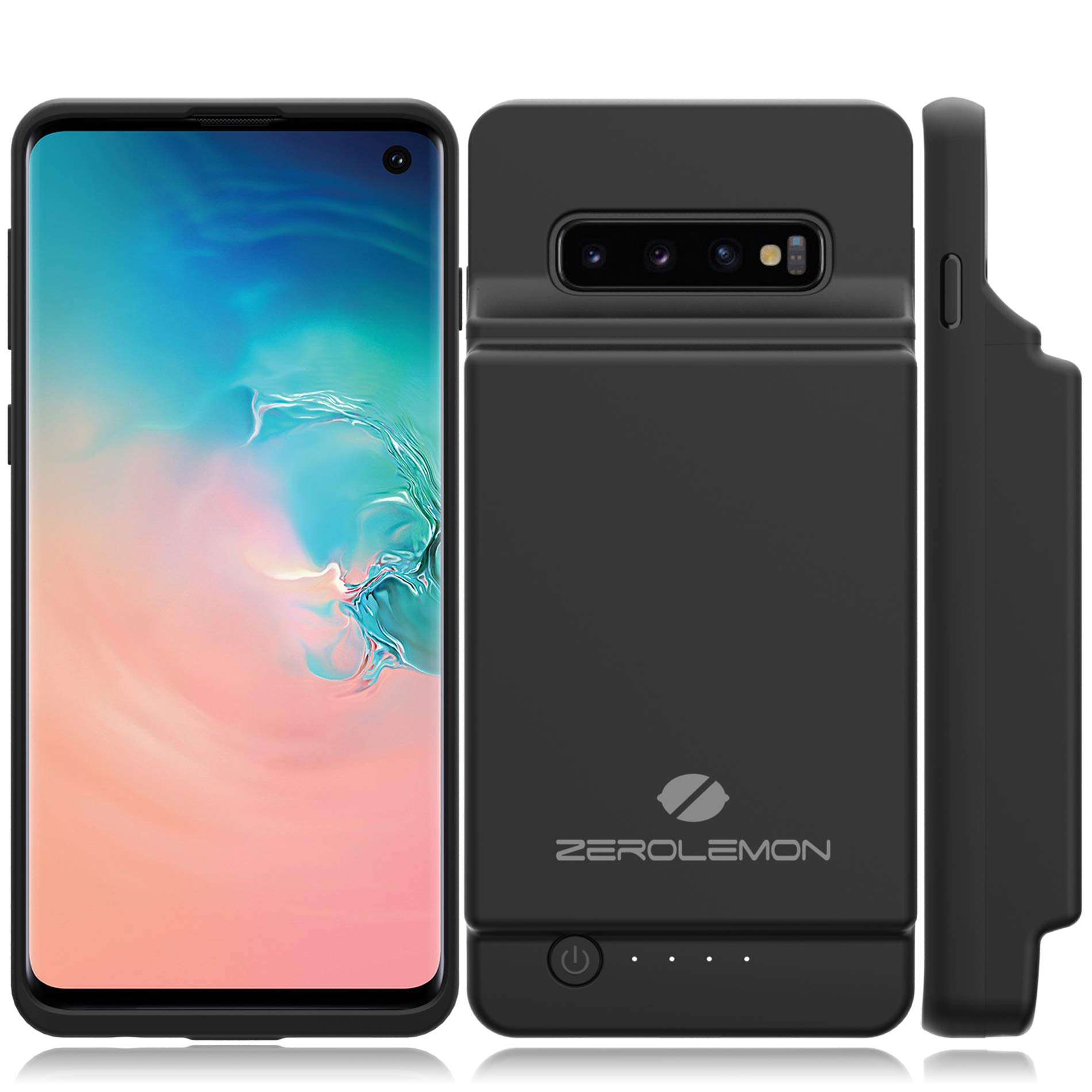 Galaxy S10 Extended Battery Case, ZeroLemon Ultra Power 8000mAh Extended Rechargeable Battery Case with Full Edge Protection for Samsung Galaxy S10 - Black