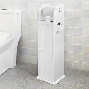 Haotian FRG135-W, White Free Standing Wooden Bathroom Toilet Paper Roll Holder Storage Cabinet Holder Organizer Bath Toilet