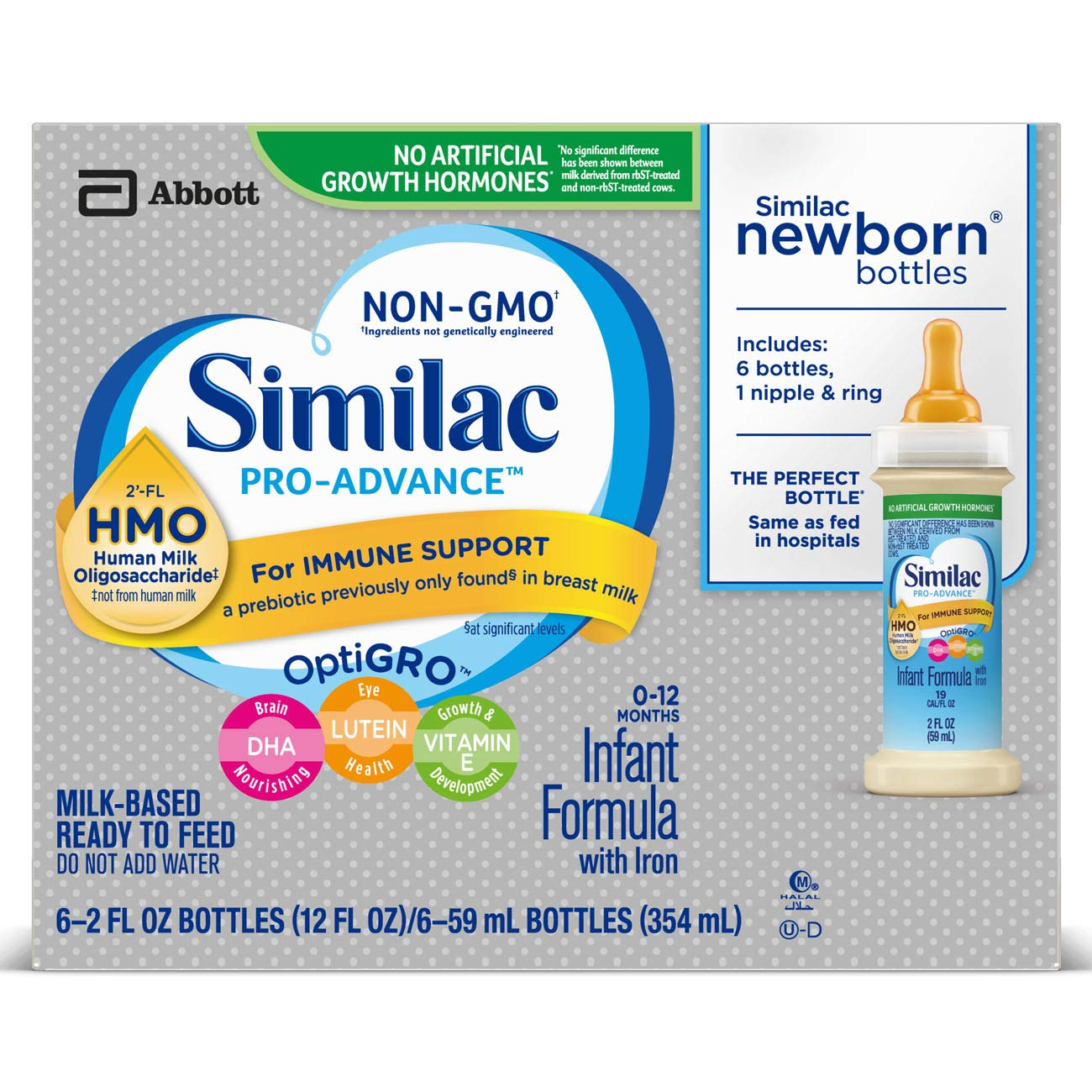 Similac Pro-Advance Infant Formula with 2'-FL HMO for Immune Support Ready to Feed Newborn Bottles, 2 fl oz (Special Discount Offer) (24 by Similac (Image #2)